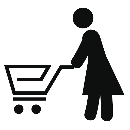 woman pushing a shopping cart icon