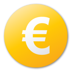 yellow euro sign icon